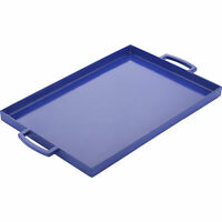 Zak Designs Durable Melamine Plastic Rectangle Serving Blue Tray Large Handles