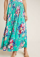 Anthropologie Jacqueline Floral Maxi Skirt by Maeve Green Motif Size 8