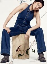 NEW Free People Denim Flared One Piece Halter Backless Jumpsuit Overalls 4