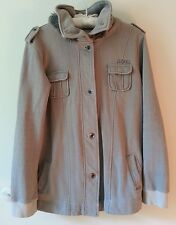 EZEKIEL SZ L HOODED JACKET COTTON BLEND  (SEE MEASUREMENTS) GRAY AND CREAM