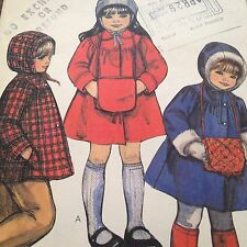 Vtg Childs Winter Coat or Jacket Muff Pattern Size 2 McCalls 8237 Uncut Classic