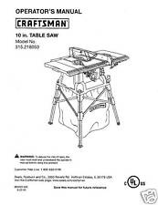 Sears Craftsman  Table Saw Manual Model # 315.218050