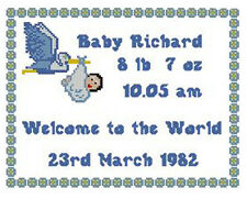"""Welcome Baby Boy Blue Counted Cross Stitch Kit Sampler 10"""" x 8"""""""