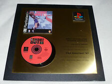 RARE SONY PLAYSTATION PS1 GOLD AWARD PLAQUE SHOOT OUT 97 GAME 989 STUDIOS 1999 >