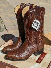 Vintage 1990s David Eden Western Ostrich Full Quill Navy Tabacco 9.5 EE 1178 NEW