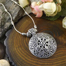 Lady Women Tibetan Silver Hollow Flower Charm Pendant Chain Necklace Jewelry