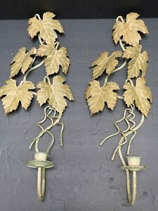 """Pr CANDLE WALL SCONCES Painted Metal Maple Leaf 18"""" Country Tole Metal"""