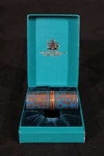 Halcyon Days Enamels Sewing Noti 00004000 On Blue & Gold Flower Needle Case New In Box