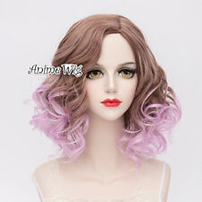 Lolita Curly Purple Mixed Brown Ombre Heat Resistant Party Cosplay Hair Wig+Cap