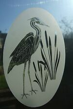 """Frosted Glass Look HERON Window Decoration 10.5""""x16"""""""