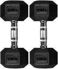 10KG Hex Dumbbell Pair Hexagonal Rubber Coated Dumbbells Home Gym Workout