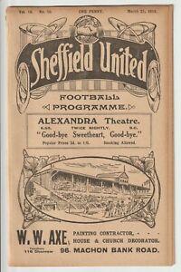 Sheffield United V Oldham Athletic Vintage Division One Programme 1913/14