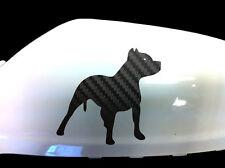 Pitbull Perro Auto Adhesivo ala Espejo Estilo calcomanías (juego De 2), de carbono negra