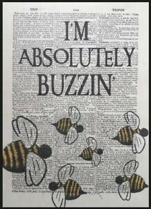 Bee Quote Vintage Dictionary Page Print Art Picture Animal Pun Buzzing Happy