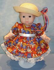 15 Inch Doll Clothes - Fall Scarecrow Dress and Hat handmade by Jane Ellen