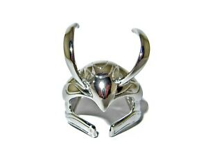 LOKI HELMET RING ADJUSTABLE SIZE US 6-9 THE AVENGERS SILVER-PLATED GREAT QUALITY