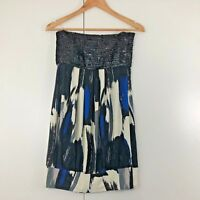 Forever 21 Womens Top Size 8 10 Blue White Black Sequin Summer Strapless Party