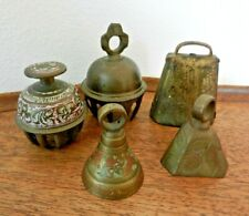 5 Vintage Indian Brass Bells – 2 claw foot