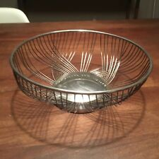 Silver Plated Vintage Retro Midcentury Wire Fruit Bowl By F.B. Rogers