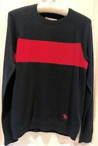 ABERCROMBIE & FITCH Navy Blue Jumper. Red Stripe. Raglan Sleeve. Age 15-16 Yrs