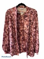 Vintage Sears Womens 2 Piece Blouse Set 16 T Pink Maroon Floral