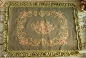 "30"" Huge Vinatege Pale Gree Wool Handmade Needlepoint Pillow"