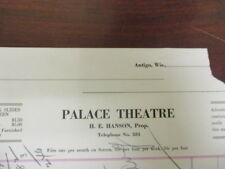 Movie letterhead Palace theatre H.E. Hanson notes on money owed and paid 9/1922