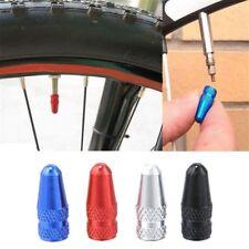 TWO (2) BLUE Bicycle Tyre Aluminum Alloy Presta Valve Cap Dust CoverS