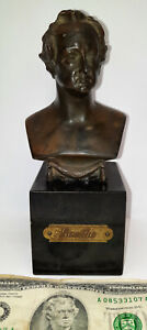 Vintage rare bronze little bust statue sculpture GOETHE black marble base