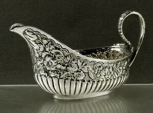 Tiffany Sterling Sauce Boat    c1870 HAND DECORATED
