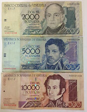 Venezuela 10,000, 5000,2000,1000,500 Bolivares 5 pieces Set very nice.