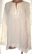 New Fashion Bug Large Ivory long sleeve side slit tunic embroidered boho blouse