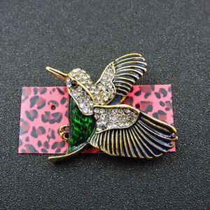 Betsey Johnson Shine Green Bling Hummingbird Crystal Charm Brooch Pin Gifts