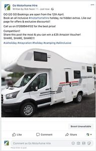 New 2/4/6 Berth Motorhomes For HIRE Automatic Gearbox Fully Equipped Ready To GO