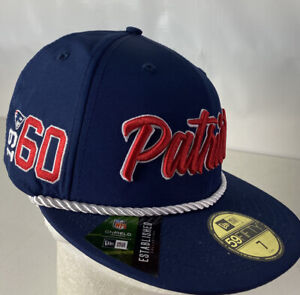 New England Patriots Hat Cap 59FIFTY Onfield NFL 100 Spellout Sewn Logo Sz 7