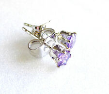 Unisex Small 4mm White Gold Plated Lilac Simulated Diamond Classic Stud Earrings