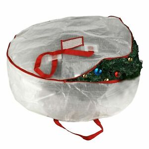 """Elf Stor White Holiday Christmas Wreath Storage Bag For 30"""" Inch Wreaths"""