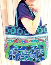Blue Hmong Shoulder Bags Hill Tribe Embroidered Bag Hippie Hobo Thai Handmade