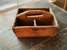 Great Small Vintage Primitive Wooden Tote Tool Box Nail Farm Caddy Carrier