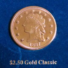 1887  GOLD CLASSIC DESIGN $2.50 GOLD-CLAD, One of America's Most Beautiful Coin