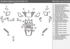 DASH TRIM CAR KIT FIT HYUNDAI GENESIS COUPE 2013-2016  INTERIOR CARBON WOOD ALUM