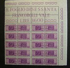 1955 Italia Blocco 10 Valori   60 lire Pacchi postali  filig. stelle