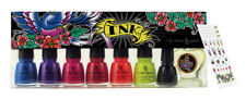 China Glaze Nail Polish INK Collection Complete 6 Colors + Nail Art + Sticker +