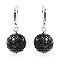925 Sterling Silver Rhodium Over Black Tourmaline Dangle Drop Earrings Ct 44.5