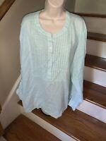 LANE BRYANT Sea foam Green Linen Blend Top Shirt Blouse Size 26 28 ❤️tw11j11