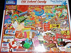 """WHITE MOUNTAIN PUZZLES """"OLD SCHOOL CANDY"""" 550 PIECE PUZZLE #1605 MADE IN THE USA"""