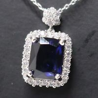 3.5 Ct Radiant Blue Sapphire Necklace Women Jewelry 14K White Gold Plated