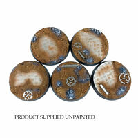 Ruined Factory - Round Resin Bases 40mm - 5 detailed bases for Warhammer 40K