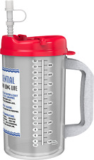 (3) 32 oz Insulated Mugs with Straws | BPA FREE |  Red Lids | Water Essential