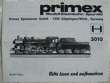 PRIMEX 3010 H0 Lokomotive 38 P8 1982 Waschzettel Anleitung